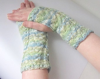 fingerless mittens in blue and green, handwarmers, texting gloves, driving gloves, Winter accessories, uk seller yarnawayknits