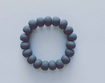 Charcoal Gray Clay Bracelet