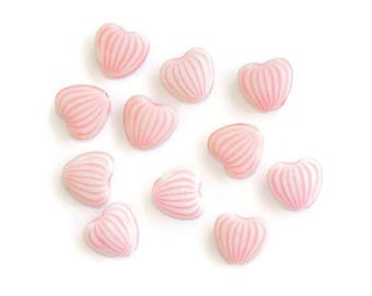 10 acrylic beads pink white striped (1) heart shape 10 x 11 x 5 mm