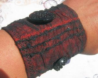 Red n Black Lace Gothic Jewelry Dark Vampire Fiber Art Handmade Fabric Bracelet Cuff-Gift