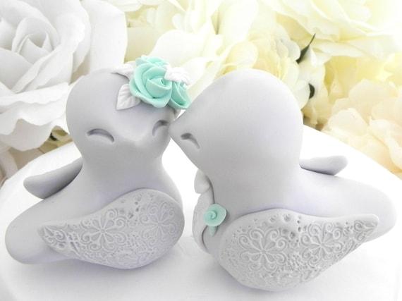 Love Birds Wedding Cake Topper, Light Grey, Mint Green and White - Bride and Groom Keepsake, Fully Custom