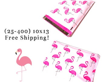 """FREE SHIPPING! (25-400 Pack) 10x13"""" Pink Flamingo Designer Poly Mailers"""
