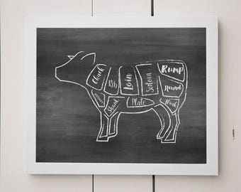 Cow and Pig Print- Set-Chalkboard-Digital