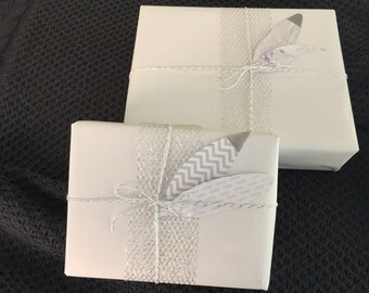 Giftwrap Set / Giftwrap / Gift Wrapping Paper / White Wrapping Paper / Silver Ribbon / Twine