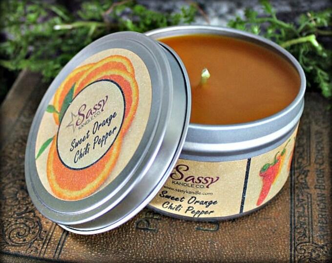 Sweet Orange Chili Pepper   Candle Tin (4 or 8 oz)   Sassy Kandle Co.