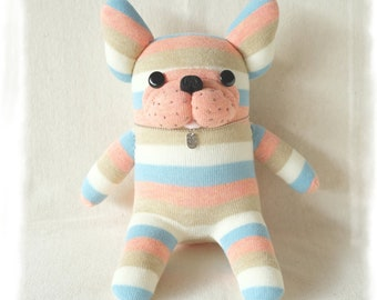NEW! sockfrenchie pink and sky blue stripes