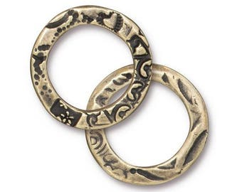3 TierraCast Flora Ring 3/4 inch ( 21 mm ) Pewter Links Brass Plated