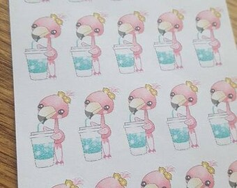 Coffee Time Flamingo Planner Stickers