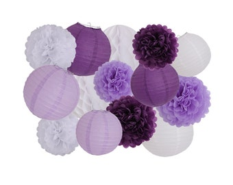 14PCS Dark Purple Lavender White Tissue Paper Pom Poms Paper Lanterns Honeycomb Balls for Birthday Party Wedding Baby Shower Decoration