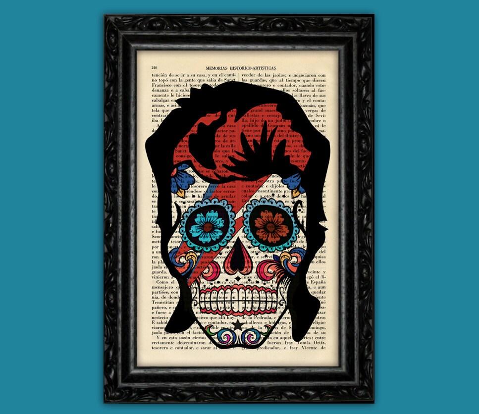 Sugar skull art david bowie book art dia de los muertos poster zoom biocorpaavc Images