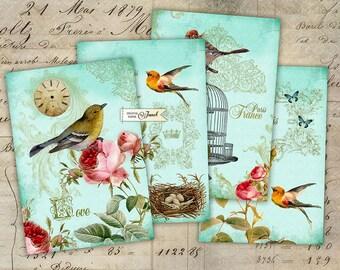 Liebe Paris - digitale Collage Blatt - set von 4 Karten - Printable Download