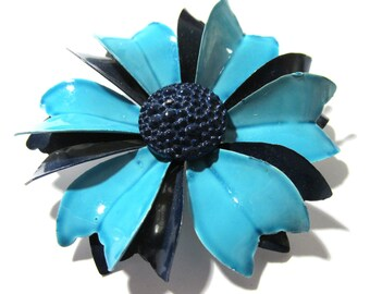 Enamel Flower Pin VINTAGE Blue Enamel Pin Brooch FLOWER Large Enamel Flower Pin Brooch Ready to Wear Vintage Jewelry Supply (L168)