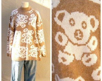 80s 90s TEDDY BEAR sweater / slouchy oversize sweater / camel tan ivory white, Kawaii novelty / womens medium large
