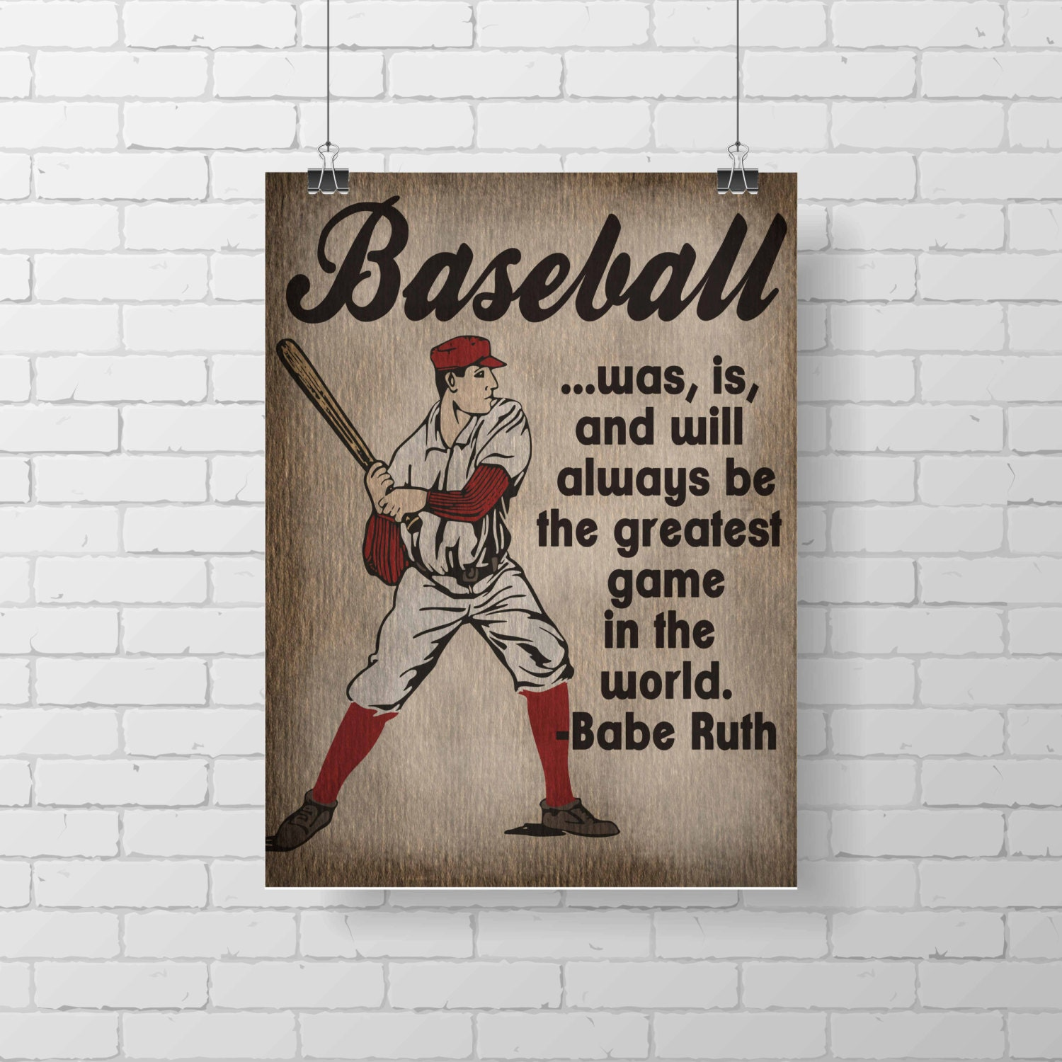 Sport Print Vintage Baseball Kids Room Decor Babe
