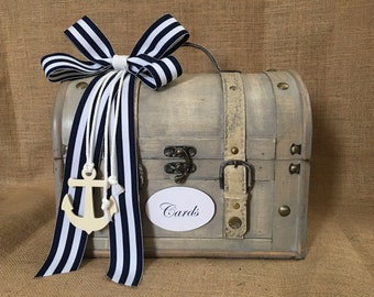Nautical Wedding Trunk, Beach Wedding Card Holder, Card Box, Money Holder,  Wedding Suitcase, Rustic Wedding Box