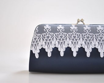 Midnight blue, Lace clutch, Wedding clutch, Bridal clutch, Bridesmaids clutch, prom clutch - Custom color