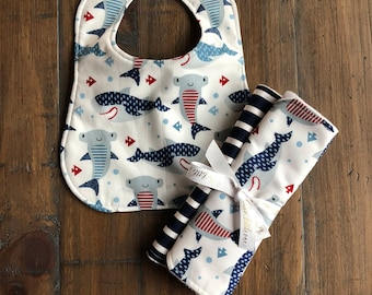 Baby Bib and Burp Cloth, Baby Boy Gift, Baby Girl Gift, Baby Shower Gift, Nautical Baby Set, Toddler Bib, Baby Bandana, Gender Neutral Gift