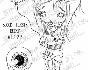 Set of 3 INSTANT DOWNLOAD Digi Stamp Big Eye Zombie Girl Holding BOO Balloon ~ Blood Thirsty Becky Image No. 122/122B/122C by Lizzy Love