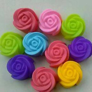 """10 Rose Silicone Molds Mini Individual 1.18"""" (3cm) Soap Bath & Nail Bombs Wax Melts Candy Chocolate Baking Craft Crayons *Ships from USA*"""