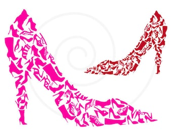 Shoe clipart, shoe silhouettes, digital clip art, high heels, stiletto, pumps, fashion illustration, printable, EPS, SVG, instant download