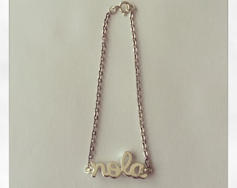 """Silver Plated """"NOLA"""" Charm Bracelet, with 1.8mm Flat Oval Cable Chain"""