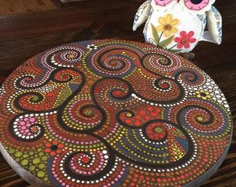"Lazy Susan Turntable 15"" round Hand Painted Tree Artwork"