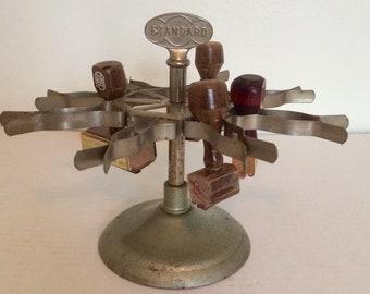 Standard stamp holder, rubber stamp carousel, industrial office supply, vintage standard