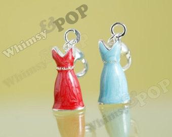 1 - 3D Silver-Plated Enamel Blue Red Dress Charm, Dress Charm, 23mm x 8mm (R7-003)