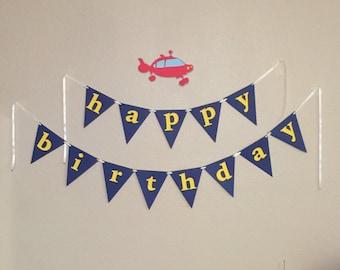 Rocket Ship Birthday Banner