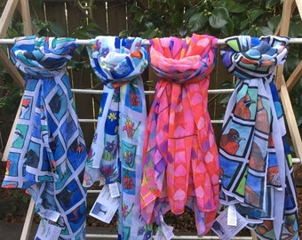 Big Square Chiffon Scarves with Beautiful CALIFORNIA Illustrations