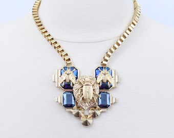 SALE Chunky Bug Necklace Big Bug Statement Necklace Blue and Gold Necklace