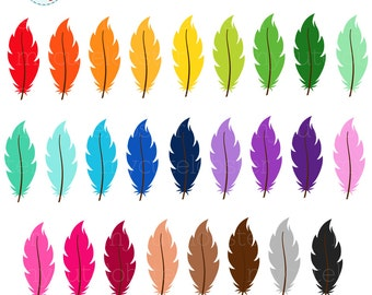Rainbow Feathers Clipart Set - feathers clip art, feather, pretty rainbow feathers - personal use, small commercial use, instant download