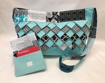 Teal Polkadotted Cotton Fabric Purse and Wallet