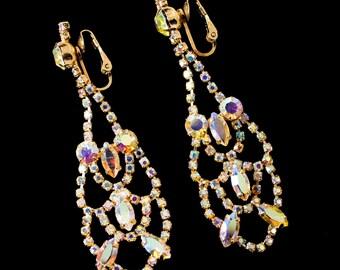 Vintage Chandelier Crystal Aurora Borealis Rhinestone Clip-On Earrings - Sherman?