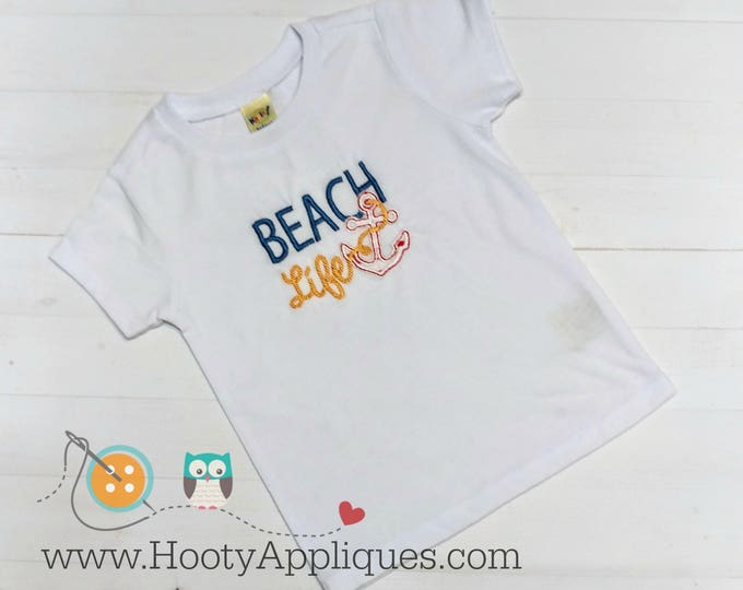 Beach life embroidered tee shirt for boys and girls- boutique style summer top- blue, yellow and red