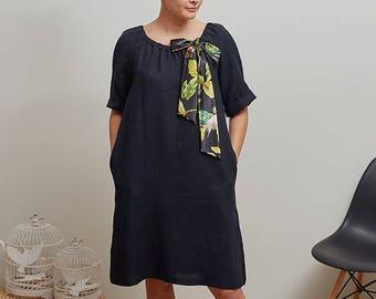 Black linen tunic dress with bow, Elbow length sleeve dress, Loose fit dress, Long linen winter tunic, Organic linen A line dress