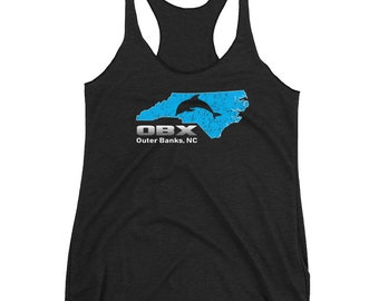 Women's OBX Racerback Tank / The Outer Banks Tank Top / OBX Gift / Outer Banks Souvenir / North Carolina