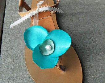 Turquoise  Sandals , Bridesmaids Sandals , Greek Sandals , T-strap Flats , Bridal Sandals , Leather Sandals , Scuba blue Flats , Women Shoes