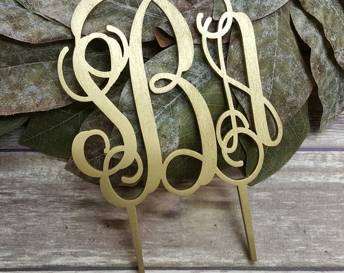 Monogram Cake Topper - Personalized Cake Topper - Bride's Cake - Initial Cake Topper - Painted