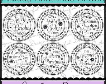 Digital Printable Stamps, Sentiments, Word Art, Clip Art, Card Making, Scrapbooking  -Set of 6 -HOLIDAY CHRISTMAS CIRCLES