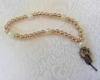Pale gold and pearlized glass Christian Protestant prayer beads