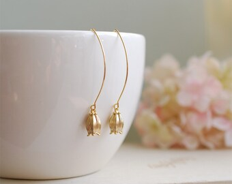 Lily of the Valley Earrings. Matte Gold Lily of The Valley Flower Long Dangle Earrings. Everyday Earrings, Gift for Mom Sister Aunt