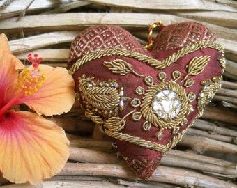 Heart Silkbrocade  Handembroidery Handmade Weddingheart Friendshipheart