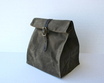 Waxed Canvas Lunch Bag, in 5 colors
