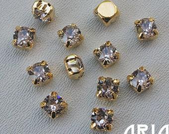 SMOKEY MAUVE: Swarovski SS29 6.5mm 17704 Xilion Gold Plated Two Hole Sew-On Slider Bead Component (12)