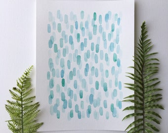 Sea Glass Abstract Watercolor Print