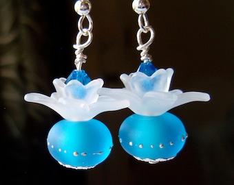 The Duchess Earrings, blue earrings, flower earrings, Sterling silver earrings