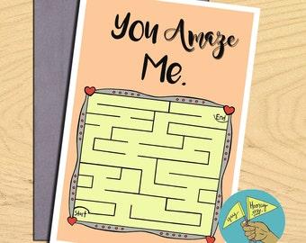 You Amaze Me, Illustration greetings love friendship birthday blank funny pun card
