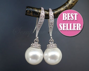 Bridal Pearl Earrings Wedding Jewelry Bridal Earrings Bridal Jewelry Cubic Zirconia White Ivory/Cream Vintage Classic K041