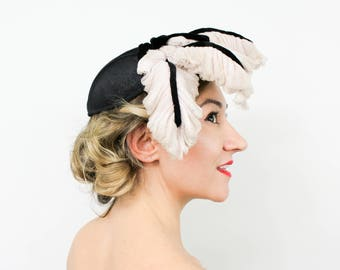 40s Black Hat | Black & Pink Fascinator | Pale Pink Tulle Feathers | Coralie New York